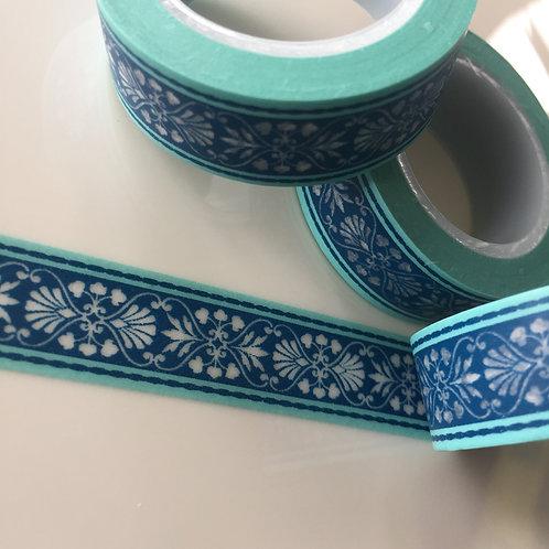 Blue Green Vintage Border 15mm