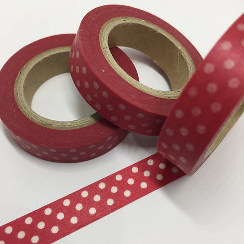 Thin Skinny Polka Dots on Red 10mm