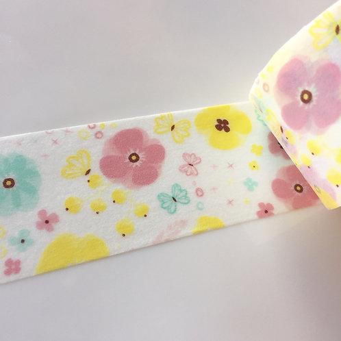 Wide Pink Mint & Lemon Floral 30mm