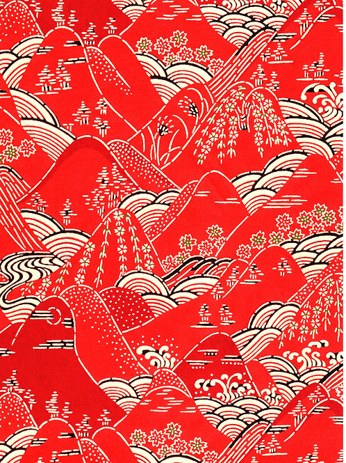 Premium Single Sheet - Katazome Landscape Red A4