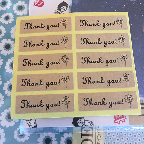 20 Thank You Sticker Seals Black Print on Kraft 45mm x 13mm