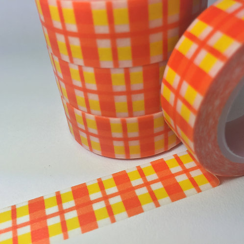 Orange & Yellow Gingham 15mm