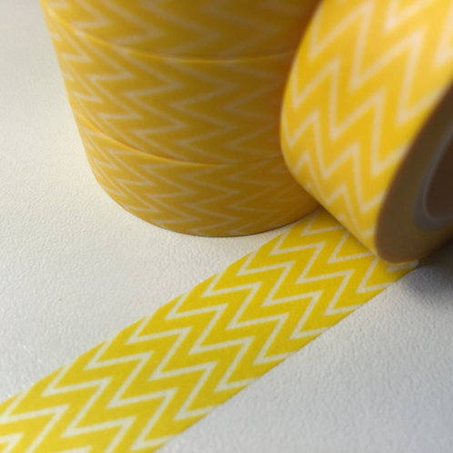 Sunny Yellow Thin Chevrons 15mm