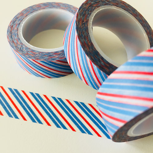 Red Double Blue Diagonal Stripe15mm