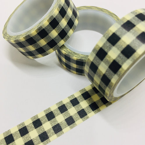 SUPER Value Black & Cream Gingham 15mm