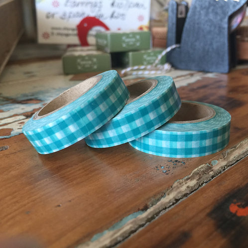 Thin Green Gingham Checks 10mm