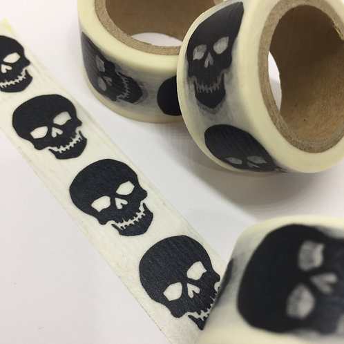 Wide Black Skull Vertical Halloween 20mm