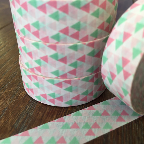 Pink & Mint Triangles 15mm