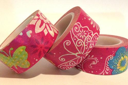 Wide Butterflies on Hot Pink 20mm
