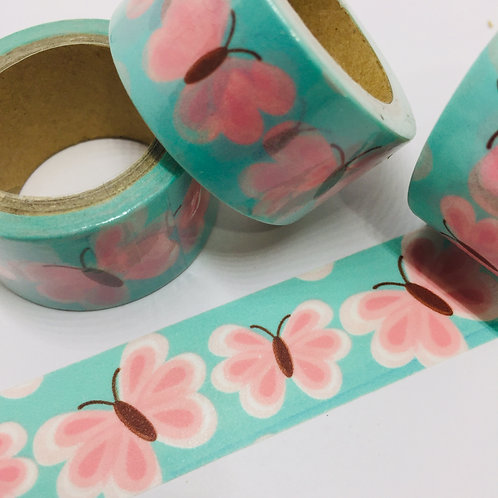 Wide Pink on Mint Butterlies 20mm