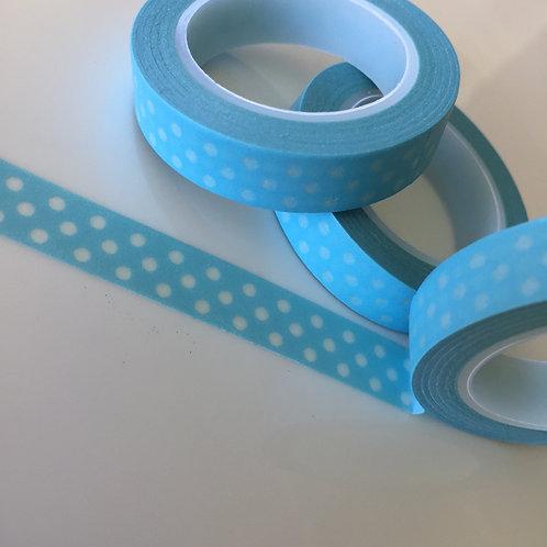 Thin Polka Dots on Blue 10mm