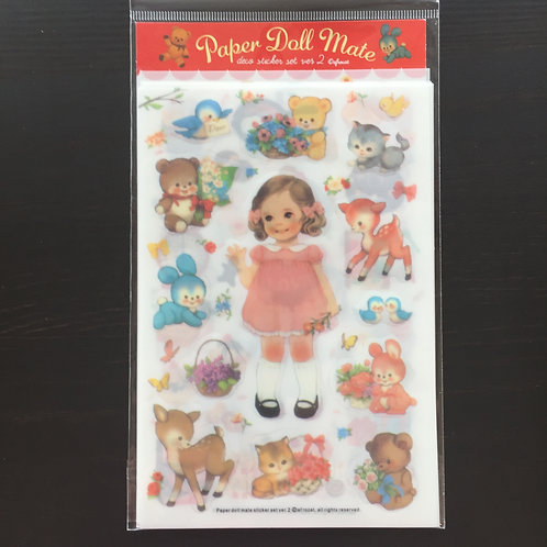 Vintage Paper Doll Sticker Seals - 6 Sheets Clear Gloss