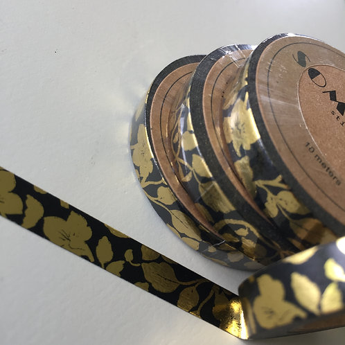 Somi Skinny Thin Gold Foil Vine on Black 7.5mm