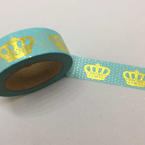 Gold Foil Crowns & Dots on Mint Washi 15mm x 10mtrs