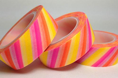 Multi Neon Diagonal Stripes 15mm