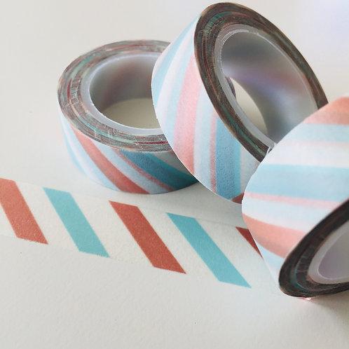 Mint & Bronze Diagonal Stripe 15mm