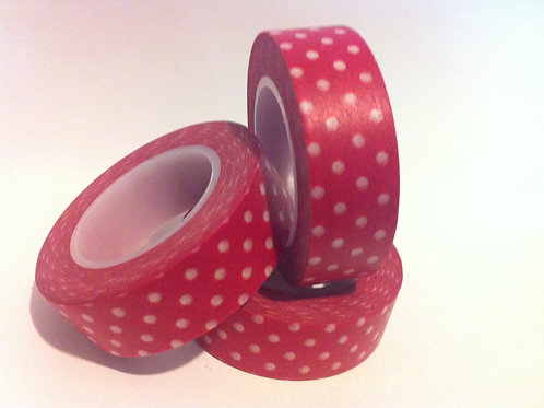 Polka Dots on Red 15mm