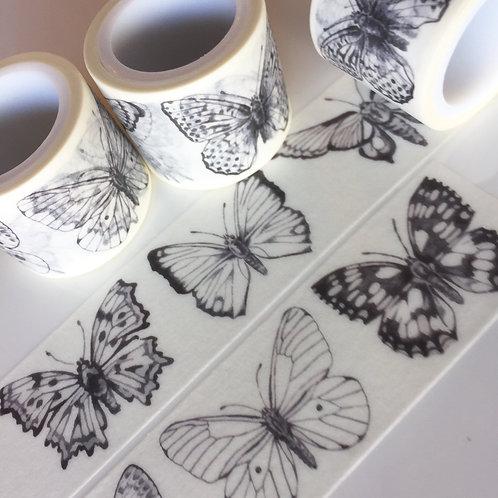 Wide Butterflies in Black 30mm