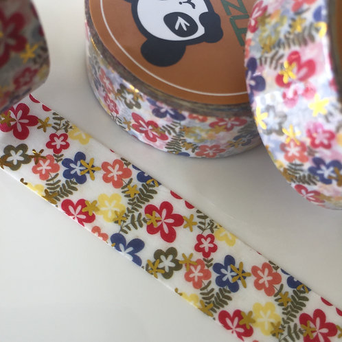 Multi Floral Gold Foil Washi 15mm x 10mtrs
