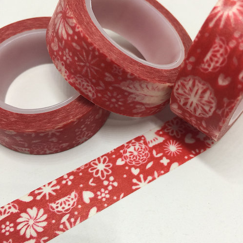 Red Scandi Bird & Floral 15mm