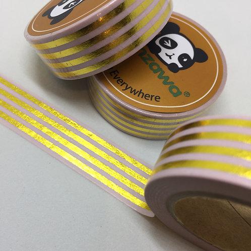 Gold Foil Stripes on Pink 15mm