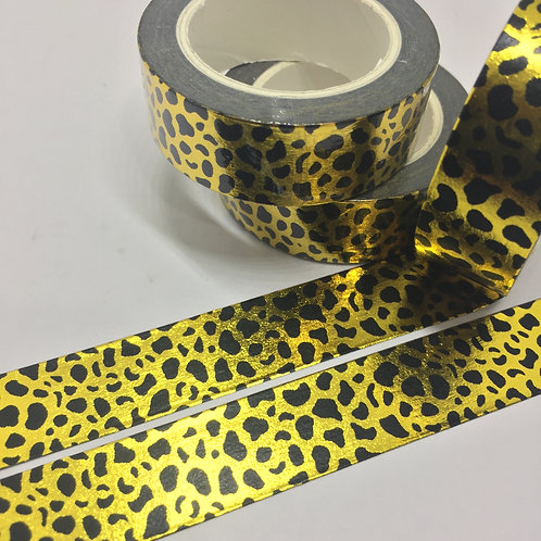 Gold Foil Leopard Print 15mm