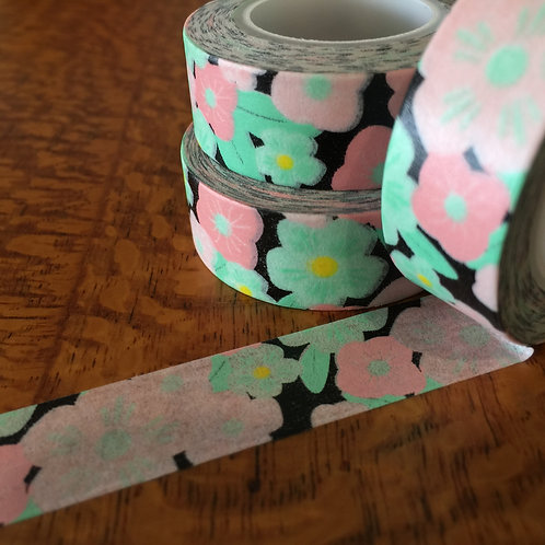 Pink & Mint Floral on Black 15mm