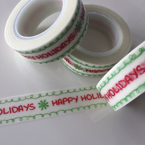 Happy Holidays Red & Green 15mm