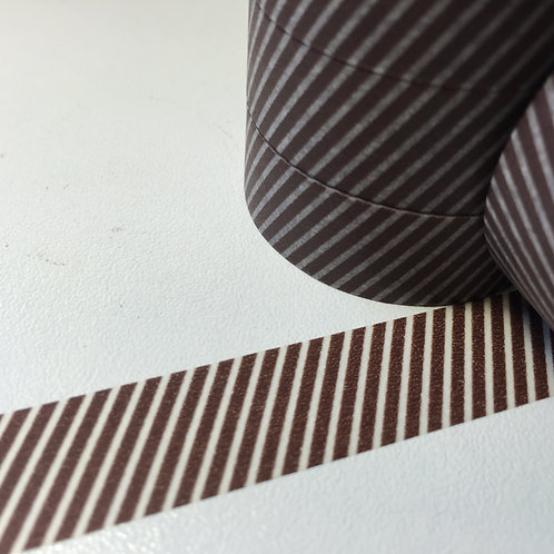 Chocolate Finer Diagonal Stripe 15mm