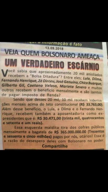Você sabia que 20 mil anistiados recebem Bolsa Ditadura? É falso!