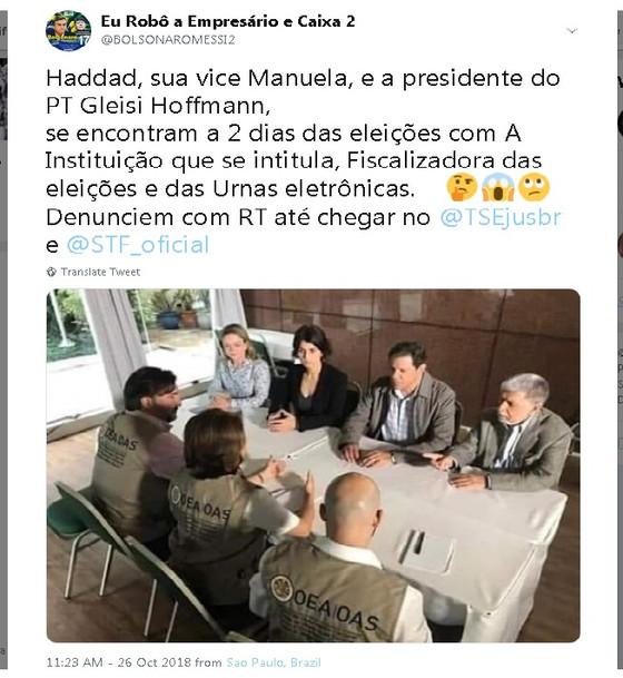 É falso: não houve encontro secreto e ilegal entre Haddad e representantes da OEA no Brasil