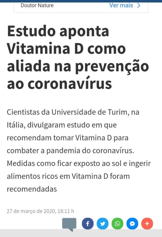 Vitamina D ajuda a combater o Coronavírus: é incompleto!