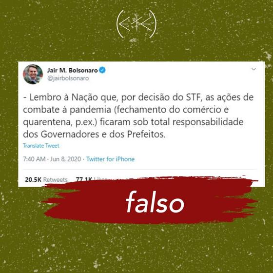 É FALSO: STF não determinou que combate à pandemia é de responsabilidade integral dos governadores