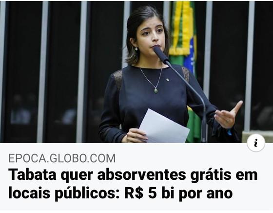 #Exagerado: Tábata quer absorventes grátis em locais públicos: R$ 5 bi por ano