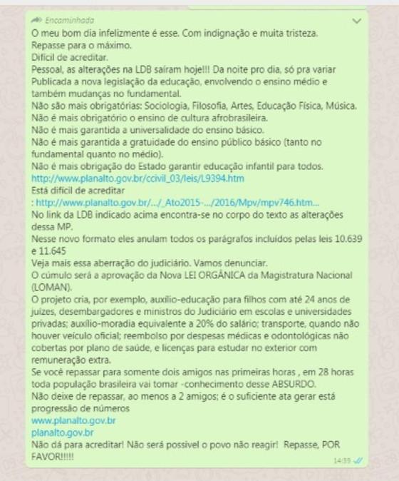 #Checamos: É falsa a mensagem sobre uma nova versão da LDB publicada em janeiro de 2020