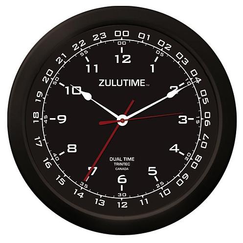 "14"" ZuluTime Dual Time Clock - Black"