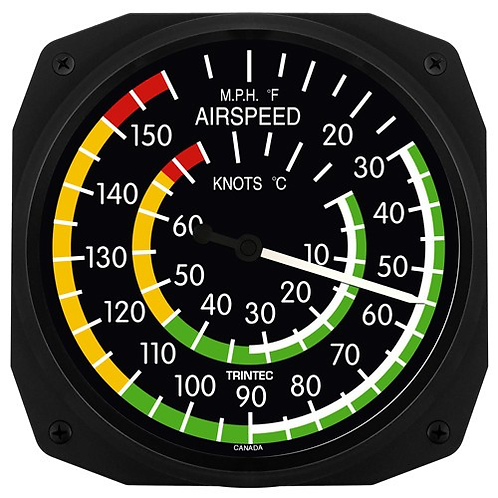 """10"""" Classic Airspeed Instrument Style Thermometer"""