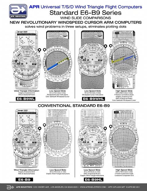 Standard Aluminum Flight Computer - E6B9 & Variations