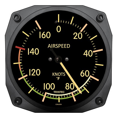 """6"""" Vintage Airspeed Instrument Style Thermometer - Fahrenheit"""