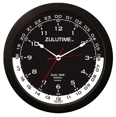 """14"""" ZuluTime Dual Time Clock - Black/White"""