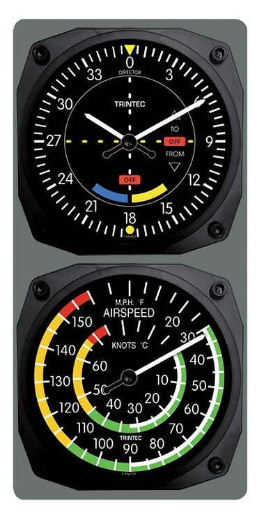Classic VOR/Airspeed Clock & Thermometer Combo