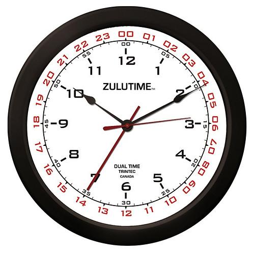 "14"" ZuluTime Dual Time Clock - White"