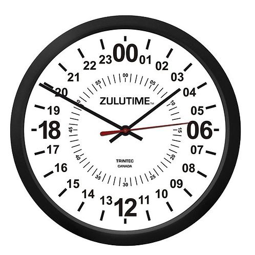 "10"" ZuluTime 24 Hour Clock - White"