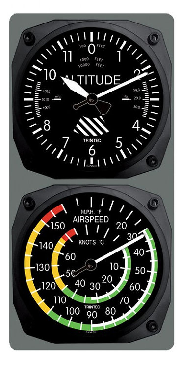 Classic Altimeter / Airspeed Clock & Thermometer Combo