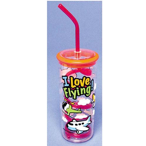 Kid's Plastic Cup with Twisty Straw