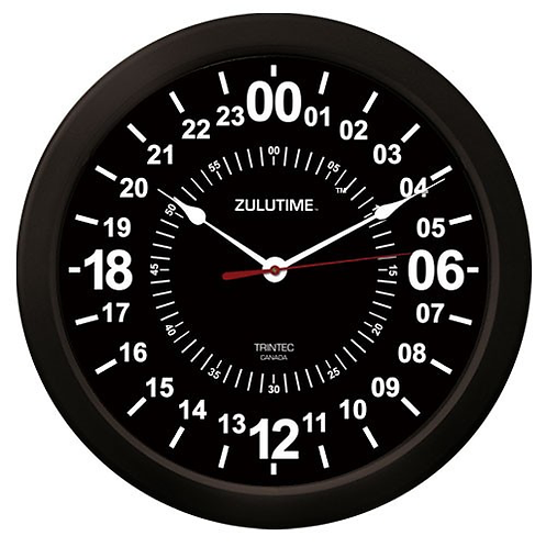 "14"" ZuluTime 24-Hour Clock - Black"