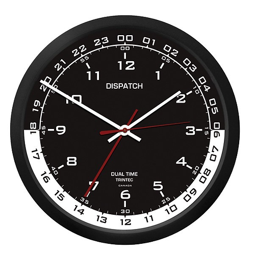 "10"" Dispatch Dual Time Clock (Zulu) - Black Inner"