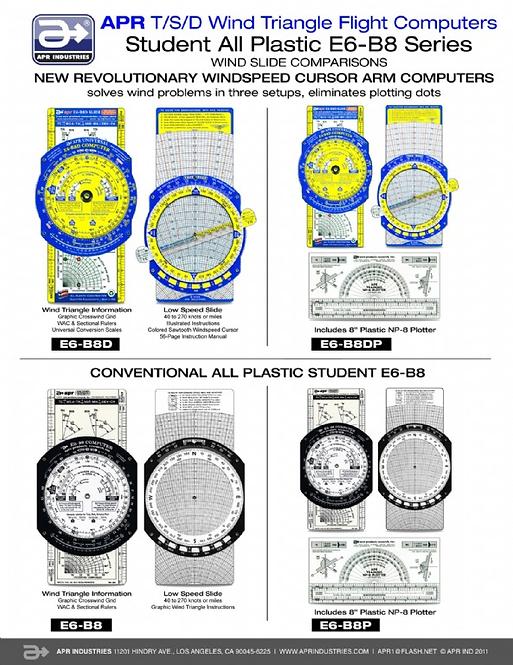 Student Series Plastic Flight Computer - E6B8 & Variations