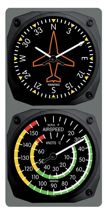 Directional Gyro Wall Clock / Airspeed Thermometer