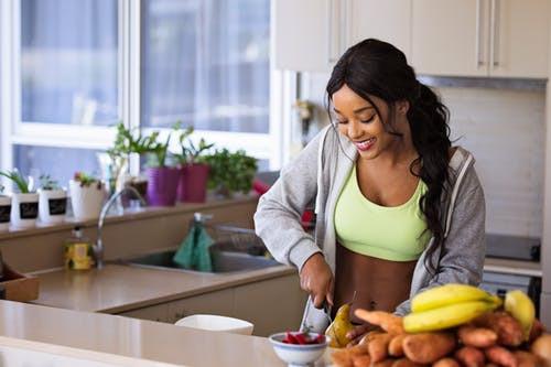food prep, fitness, happy girl